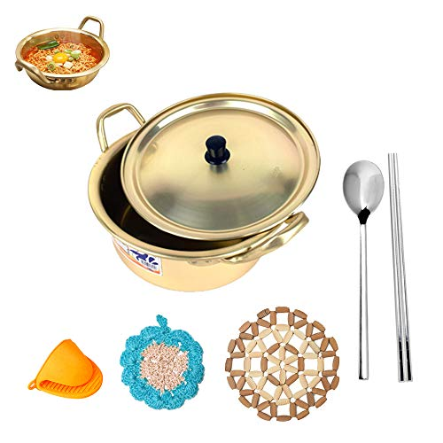 Korea Ramen Noodles Pot Full SET, Yellow Pot + Scrubbing pad + Cooking Finger Protector Pinch Grips + Pot Mat + Spoon & Chopsticks