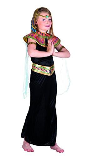 Boland 82122 – Costume de princesse égyptienne pour enfant, 7-9 ans, noir, col d'épaule coloré, Nil, rivière, Égypte, pyramide, pharao, carnaval, soirée à thème, déguisement, théâtre