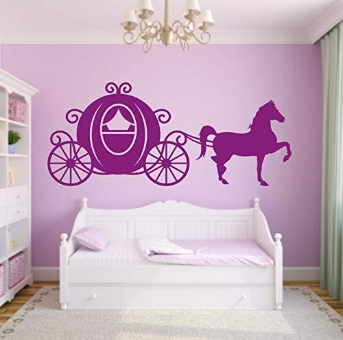 Prinses vervoer en paard vinyl muurstickers paard paard muur stickers voor slaapkamer beweegbare muurschildering muurschildering 94x42cm