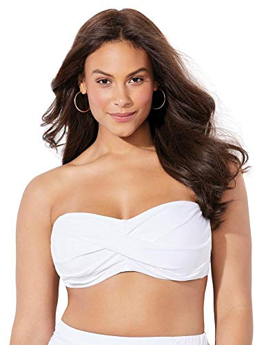 Swimsuits For All Women's Plus Size Valentine Ruched Bandeau Bikini Top 14 White