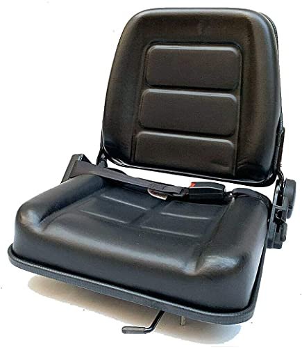 YILIKISS Universal Forklift Seat Waterproof PVC with Retractable Seatbelt,Great Replacement Seat for Tractor/Loader/Excavator/Forklift