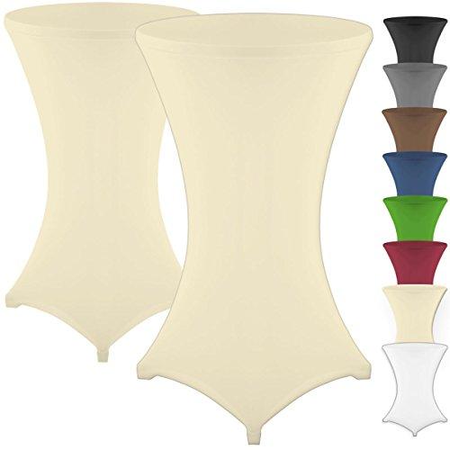 Gräfenstayn® Diana Set de 2 Fundas elásticas para mesas Altas de pie tamaños para un diámetro de Mesa de Ø60 cm • Ø70 cm • Ø80 cm - con Öko-Tex Standard 100 (Crema, Ø 70)