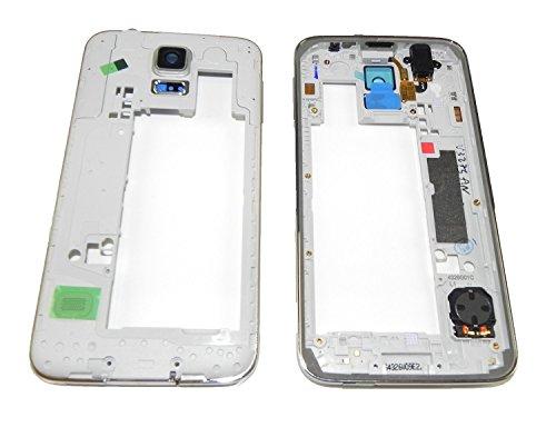 ToKa-Versand® - Mittel Rahmen für Samsung Galaxy S5 G900F Mittelrahmen Silber Lautsprecher Kamera Glas Audio Jack Backcover Laut Leise Volume