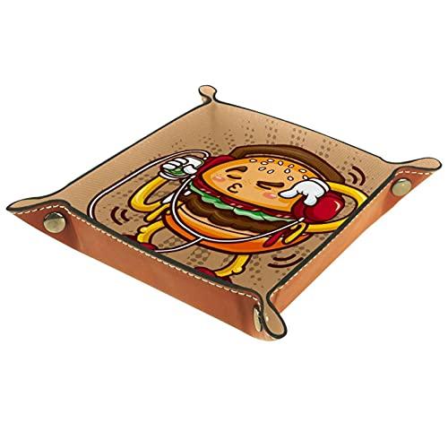 Plateau de jeux de dés à roulettes pliant Plateaux à bijoux carrés en cuir et montre, clé, pièce de monnaie, boîte de rangement de bonbons Hamburger drôle de bande dessinée écoutant de la musique