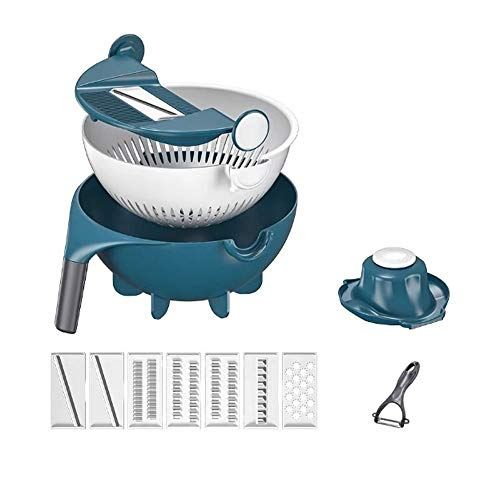 ZHUANYIYI Vegetable Grater,9 in 1 Multifunction Vegetable Cutter Chopper,Portable Kitchen Tool with Drain Basket-Best Veggie Cheese Shredder Grater Set
