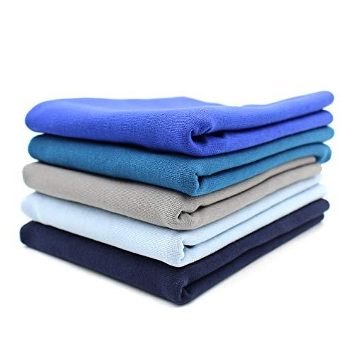 Tela para puños (5 x 0,25 m, 70 cm de ancho, 95 % algodón, 5 % elastano, selección de tonos azules, juego de 5 unidades)