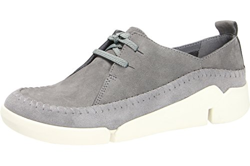 Clarks Tri Angel, Damen Low Top Sneakers, Grau (Grey/Blue Lea), 37 EU (4 Damen UK)