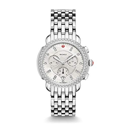 Michele Sidney One Hundred Seventeen Diamonds Swiss Chronograph Mother of Pearl Dial Silver Tone...