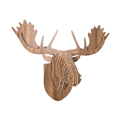 hroome 3d Puzzle de madera DIY Modelo Kit alce soporte de pared de cabeza de ciervo de pared colgante Animal Craft Decoración del hogar, Madera contrachapada, marrón, 13.5IN*21.5IN*26.5IN
