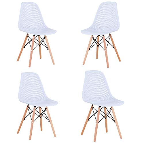 Dining Chair Set of 4,Modern Mid-Century Side Chair with Wood Legs Desk Chairs for Kitchen Dining Room Living Room (White-03)