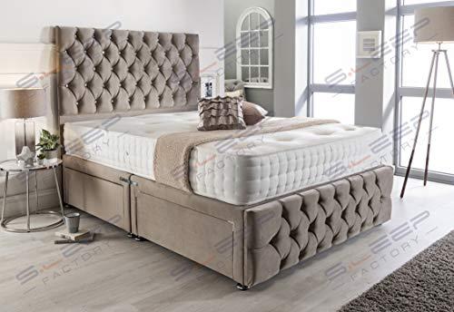 Sleep Factory's Pebble Plush Velvet Chesterfield 2 Drawer Divan Bed Set, Mattress & Headboard (5.0FT (King))