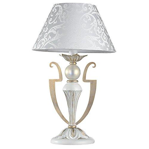Lampe à poser, lampe de table, lampe de chevet, style Moderne, Art Deco, Armature en Métal couleur or blanc, Abat-jour en tissu crème blanc, ampoule non incluse, 40 W E14 220V -240V