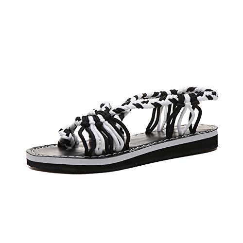 CCSSWW Interior Al Aire Libre Verano Zapatillas,Zapatos de Cuerda de Verano Playa Sandalias Femeninas-Blanco_35,BañO Sandalia Suela De Espuma