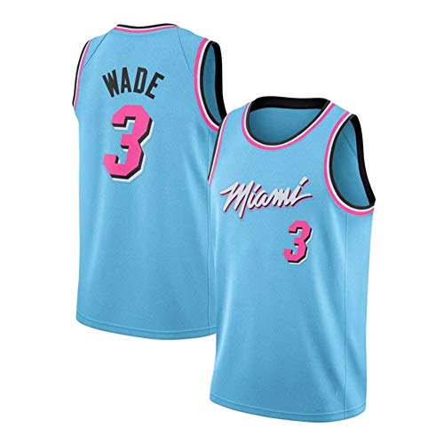 MHDE Herren-Basketballtrikot - # 3 Dwayne Wade-Miami Heat-Trikot ärmelloses Unisex-Basketball-Swingman-Trikotoberteil Aus Besticktem Netz,Blue-M