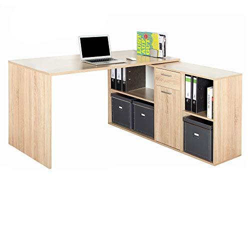 RICOO WM081-ES, Schreibtisch, Holz Eiche Sonoma, Winkelkombination, Arbeitstisch, Bürotisch, Computertisch, Eckschreibtisch, Akten Schrank Lowboard