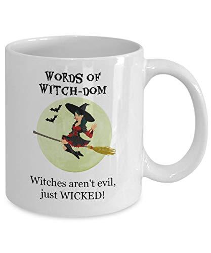 N\A Taza de Wiccan, Taza de caldero de Brujas de Salem, Taza de café de Buena Bruja, Regalo Divertido para el cumpleaños de la Mujer o Halloween, Bruja Malvada, Taza de té - Words of