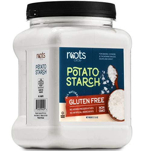 Roots Circle Gluten-Free Potato Starch | 1 Pack of 21oz Jar 100% Pure Potato Flour No Preservatives or Artificial Ingredients | Kosher for Passover Thickener for Soups Stews, Gravies & Sauces