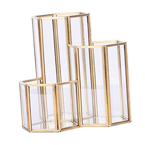 B Blesiya Make UP Pinsel Aufbewahrung Pinselhalter Kosmetik Aufbewahrungsbox Stift Behälter, Gold