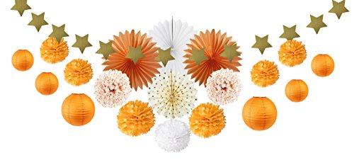 SUNBEAUTY Deco Orange Salon Chambre Blanc Mariage Decoration Anniversaire Papier de Soie Pompon Rosace Lampion Boule Chinoise Halloween Deco
