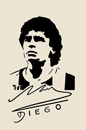 Diego: Diego armando Maradona-Lined notebook - 100 pages - WHITE COLOR - 6x9 -matte cover.