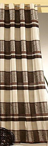 heimtexland Gardine Blickdicht Vorhang Ösenschal aus edel glänzendem Jacquard-Gewebe in Schoko braun HxB 245x140 cm hochwertige Qualität mit schönem Fall …auspacken, aufhängen, fertig! Typ195