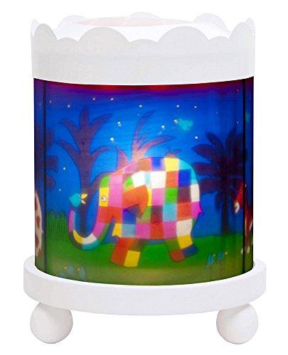 Trousselier - Elmer der Elefant - Nachtlicht - Magisches Karussell - Ideales Geburtsgeschenk - Farbe Holz weiß - animierte Bilder - beruhigendes Licht - 12V 10W Glühbirne inklusive - EU Stecker