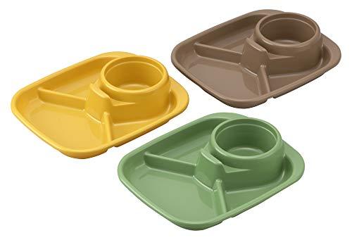 イノマタ化学 バーベキューディッシュ 角 3色組 イエロー/グリーン/ブラウン 約22×18.3×高さ4.6cm 1425 3枚入