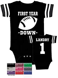 boy girl Personalized custom football 1st birthday outfit bodysuit, Add baby's name to the back, Regular, Glitter or suede like design options, Assorted onesie colors available, Baby's First year down
