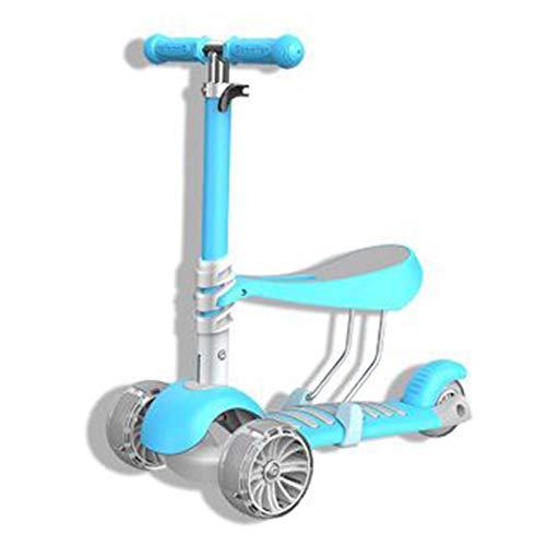 NOLO Kinderscooter, Faltbare Einstellbare Blink Rad Scooter Aluminiumlegierung Skateboard for Kinder (Color : Blue)