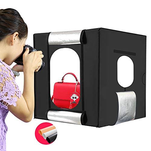 Konseen 撮影ボックス 撮影ブース 60cm 折り畳み式 撮影キット 撮影簡易スタジオ 198個ビーズのLEDライト付き 光度調整可能 3色PVC背景スクリーン付き 携帯型 組み立て簡単