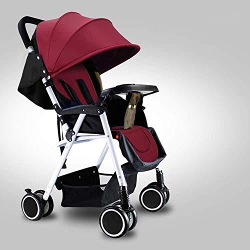 MAMINGBO Cochecito ligero, cochecito de bebé plegable con una mano con arnés de seguridad de 5 puntos y asiento reclinable de múltiples posiciones, cochecito de viaje ligero for bebés (Color : Rojo)