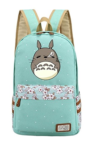 Double Villages Anime My Neighbor Totoro Cosplay Daypack Bookbag College Tasche Rucksack Schultasche (Grün 2)