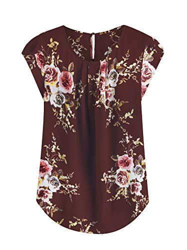 Milumia Women's Elegant Floral Print Petal Cap Sleeve Pleated Vacation Office Work Blouse Top Maroon Large