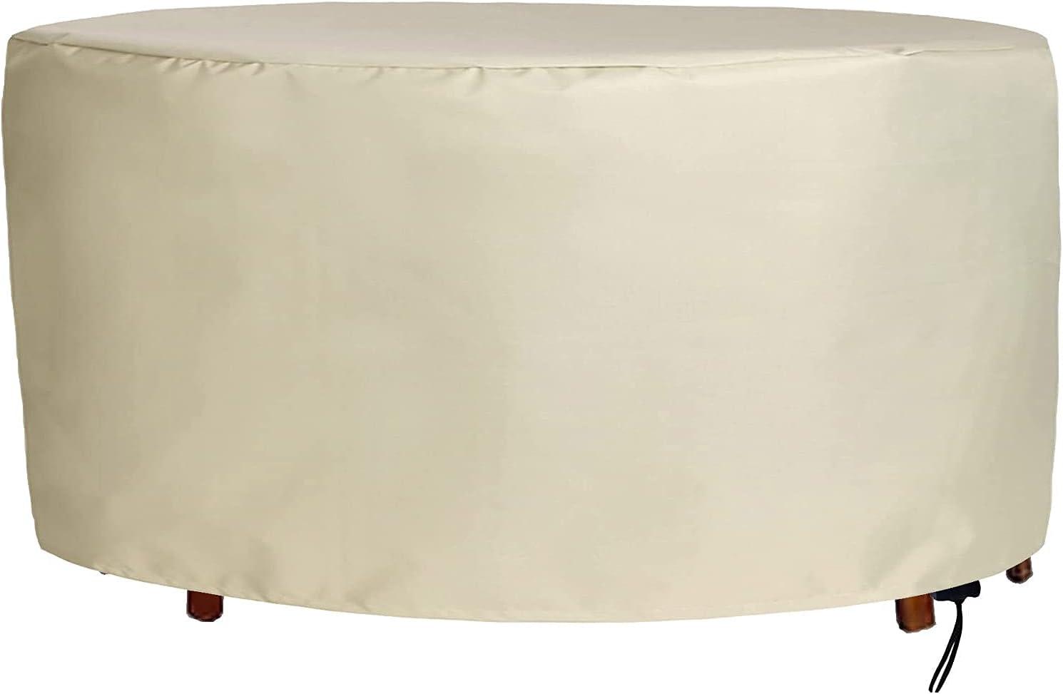 BKPH Cubierta para Muebles de Jardín, Redonda Funda Muebles Exterior,420D Resistente Tela Oxford,Exterior Patio Mesa de Comedor Silla Funda Antipolvo,Impermeable,a Prueba de Viento,Anti-UV-(DxH)