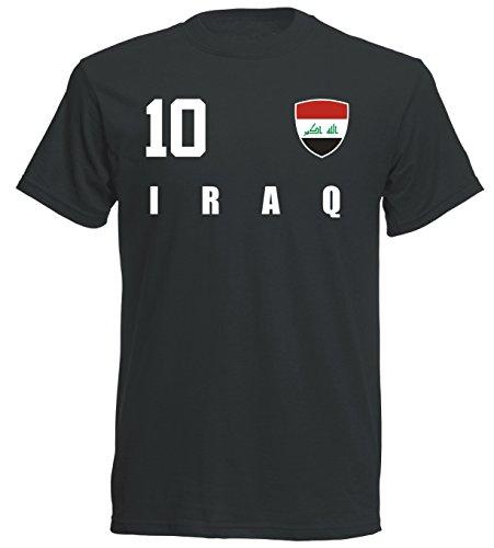 Irak WM 2018 T-Shirt Trikot - schwarz ALL-10 - S M L XL XXL (S)