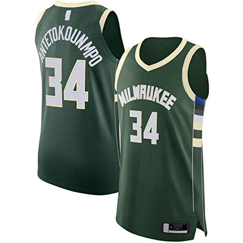 MOLIHUA 2020/21 Jersey Baloncesto Jersey Antetokounmpo Hombres Milwaukee Manga Corta Bucks Ropa Hunter Verde -#34 Milwaukee Icono EditionGiannis Icono Edition-XL
