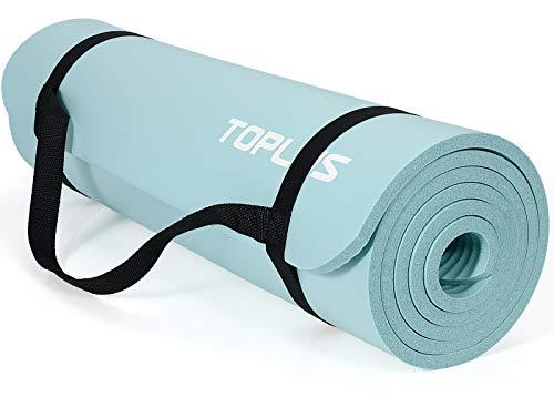 TOPLUS Tapis de gymnastique épais sans phtalates - Antidérapant et doux pour les articulations - Avec sangle de transport pratique - 183 x 61 x 1 cm, bleu clair