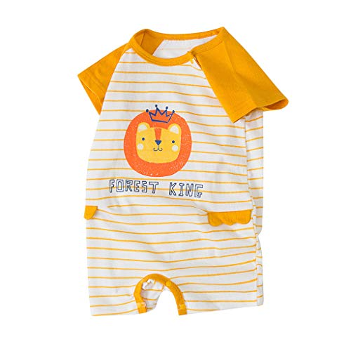 TEFIIR Neugeborene Baby Boy Mädchen Cartoon gestreifte Säugling Strampler Jumpsuit Outfits Kletteranzug Baby Kurzarm Bodysuit
