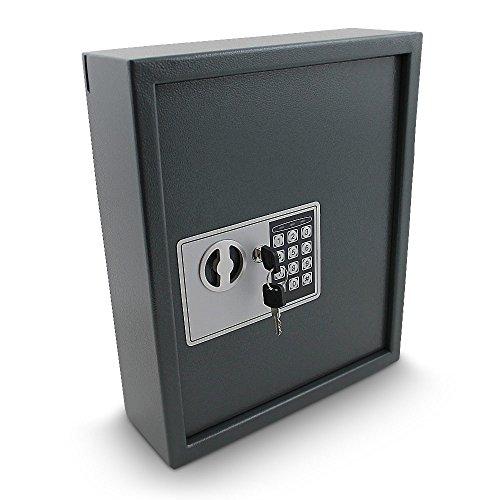 Elektronischer Schlüsselsafe Safe Tresor Schlüsselkasten Schlüsseltresor Schlüssel Sicherheitssafe mit 48 Schlüsselhaken Grau