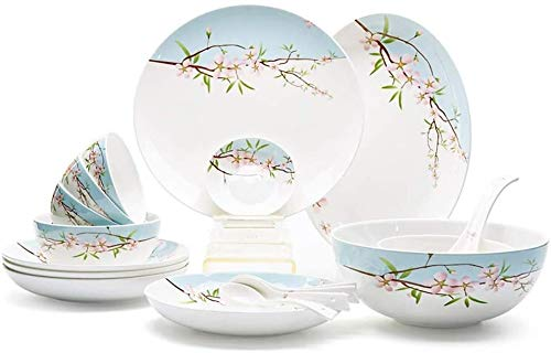 Gym Cuenco de Ceramica Porcelana Exquisita Set De Cubiertos 4 Personas Inicio Set Cuchara Plato Plato Caja De Regalo Conjunto (Color : Multi-Colored)