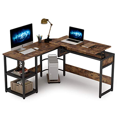 Tribesigns L Shaped Desk with Lift Top, Rustick Sit to Stand Corner Computer Desk with Storage Shelves, Rustic Height Adjustable Standing Desk Workstation for Home Office