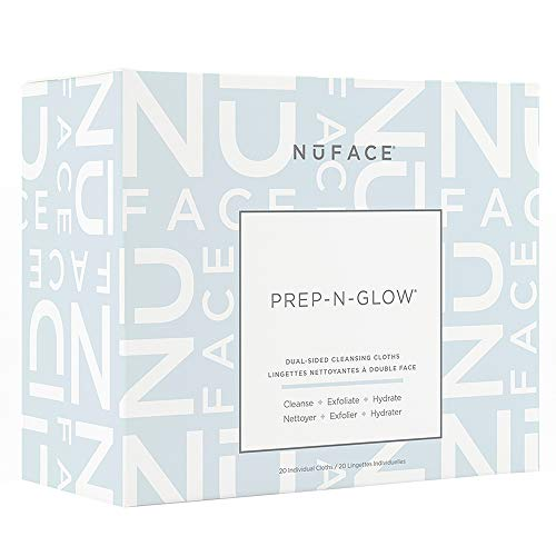 NuFACE Prep-N-Glow Dual-Sided Cleansing Cloths | Exfoliating Hydrating Facial Cleansing Wipes...