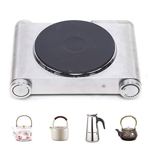 Berkalash Placa de cocina individual de 1500 W, acero inoxidable, 185 mm de diámetro, ajuste de temperatura sin niveles, para oficina, viajes y hogar