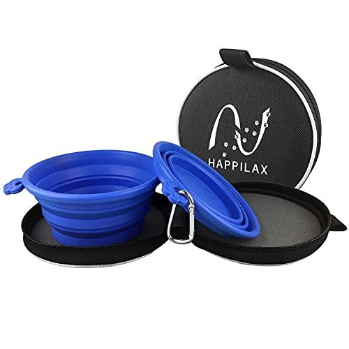 Happilax Reisenapf-Set für Hunde mit 2 faltbaren Hundenäpfen, 2 Karabinern und Tasche, Futternapf und Wassernapf für unterwegs