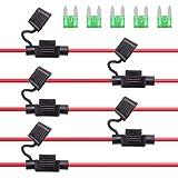 Rantecks 5PCS 12V Portafusibles en línea 12AWG Arnés de cableado Portafusibles automotrices con Fusible de Cuchilla mini 30A para Coche, camión, Motocicleta, Barco