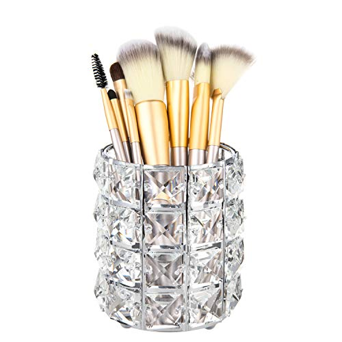 Feyarl Crystal Beads Makeup Brush Holder Silver Bling Handcrafted Comb Brush Pen Pencil Holder Pot Storage Cosmetic Tools Organizer Container Candle Holder 1pcs