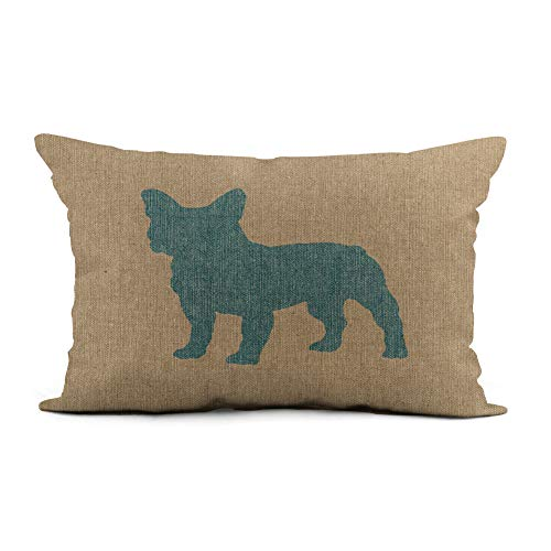 Topyee Throw Pillow Cover 12x20 Inch French Bulldog in Blue on Linen Look Home Decor Pillowcase Lumbar Pillow Case Cushion Cover for Sofa Couch Bed