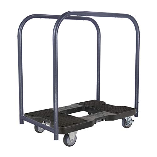 1,200 lb Capacity General Purpose E Track Panel Cart Dolly Black, Heavy Duty 4 in Thermoplastic Swivel Non Marking Caster Wheels