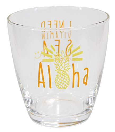 ハワイアン雑貨 ハワイ雑貨 パイナップル お土産 アロハ グラス FDパインアロハグラス (ORANGE)