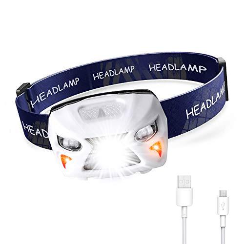 Cobiz Linterna Frontal, LED Linterna Cabeza 8 Modos USB Recargable 1200mAh Sensor de Movimiento, Linternas LED Alta Potencia 400LM para Camping Pesca Carrera Ciclismo Deportes Nocturnos y Caza